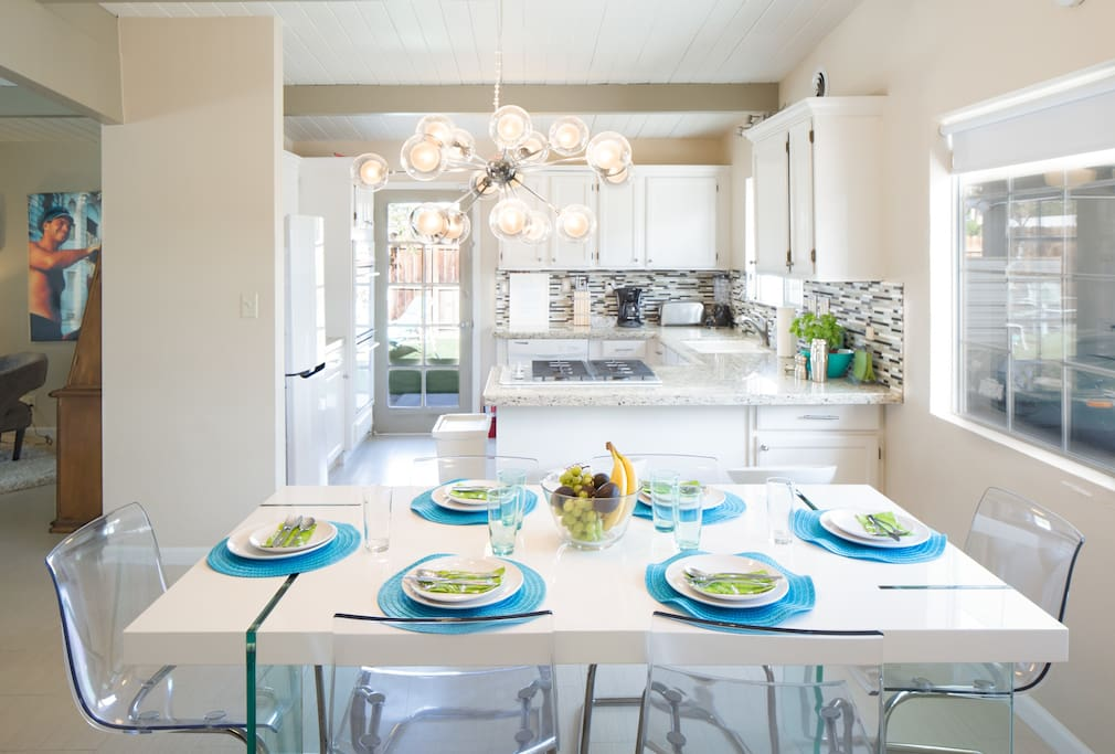 Light filled kitchen and dining room
