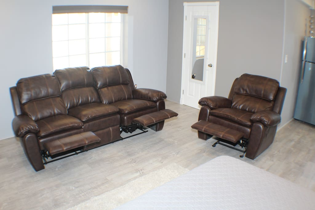 Front view of reclining chairs