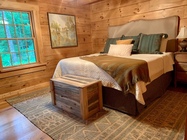 Cozy master bedroom on main level with king bed