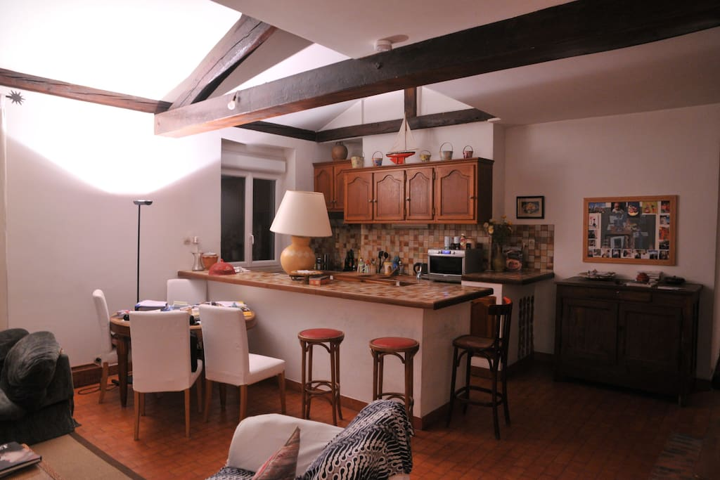 Living room and American open plan kitchen