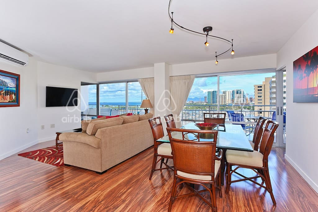Ocean, harbor views from living and dining areas