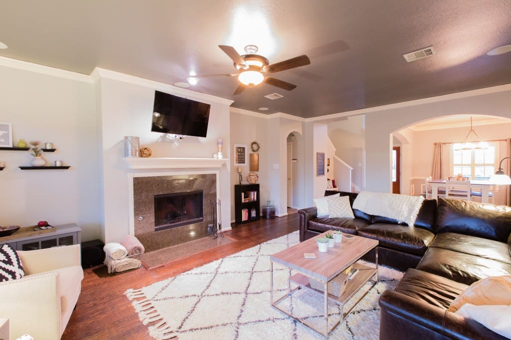 "Living Room with gas fireplace and 55"" TV"