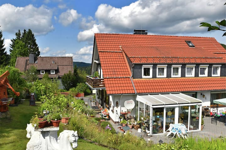 Flat for 10 people with a large conservatory at the edge of the forest in the Harz region