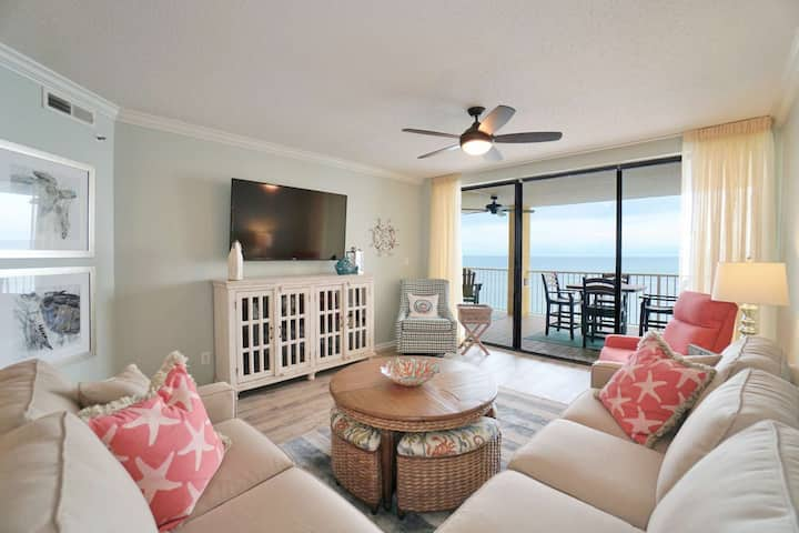 Professionally Decorated Gulf-front | Out/Indoor pools, Hot tub, Sauna, Fitness, Tennis, Playground