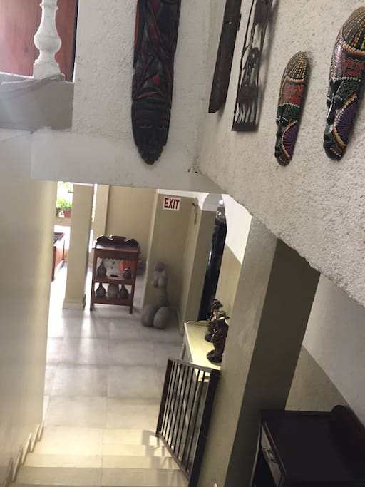 Stairs leading to the 14 apartments ready to receive guest