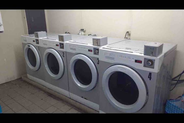 Laundry machines are available at The Island for our guests to use. The Island is the resort just West of our resort.