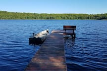 Private pier and fishing boat with trolling motor included in rental
