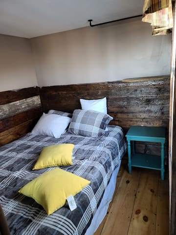 Main level bedroom Queen bed same level as bathroom