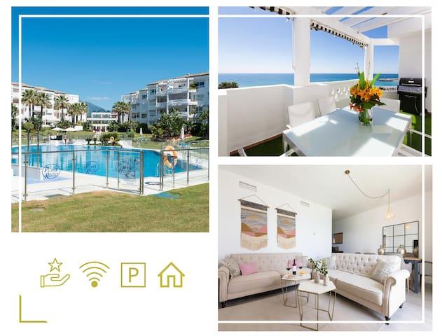 Oceanfront/Quiet/Sea Views/Penthouse/Modern. BBQ