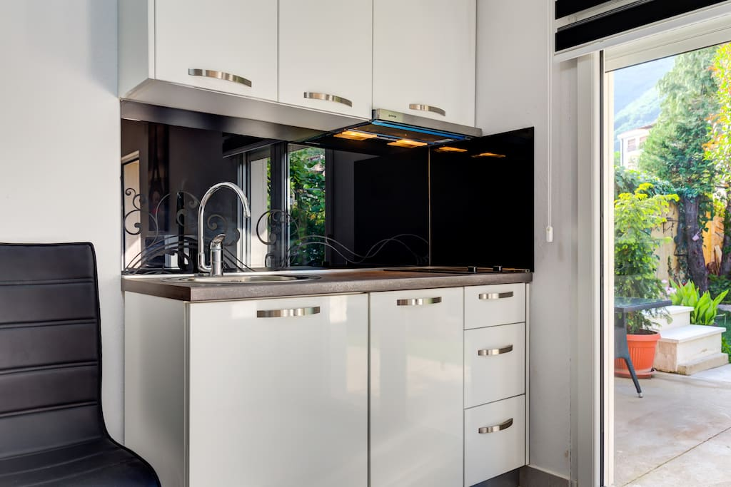 Modern fully equipped kitchen with all the amenities.