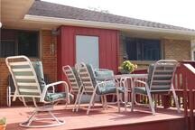 The deck is a lovely place to eat breakfast and enjoy the weather when it is nice.