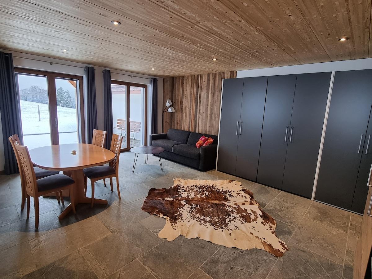 elegant apartment amidst nature, sorens