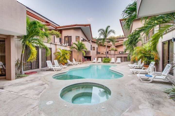 Family-friendly beachside getaway with a shared pool, fitness center, and tennis