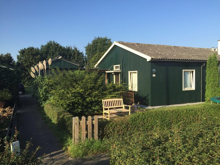 Historical Wooden bungalow at the Dutch big lakes