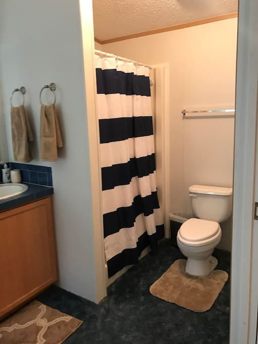 Master bedroom shower. Have double sinks in bathroom.