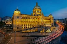 Wenceslas square with National museum and St. Wenceslaw Statue - 10 minutes walk from our apartment