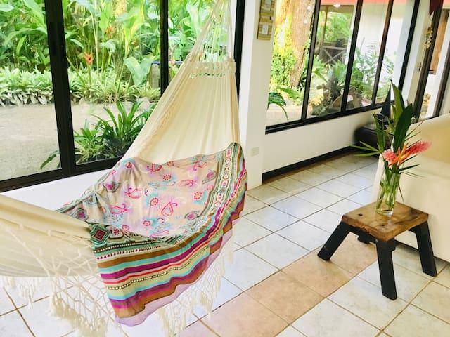 relaxing huge hammock, authentic spot to observe jungle garden surrounding