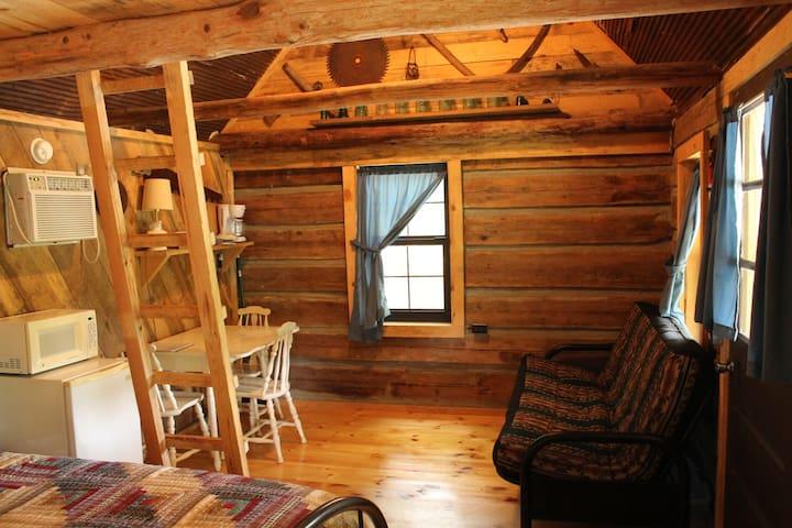 Inside living space in log cabin