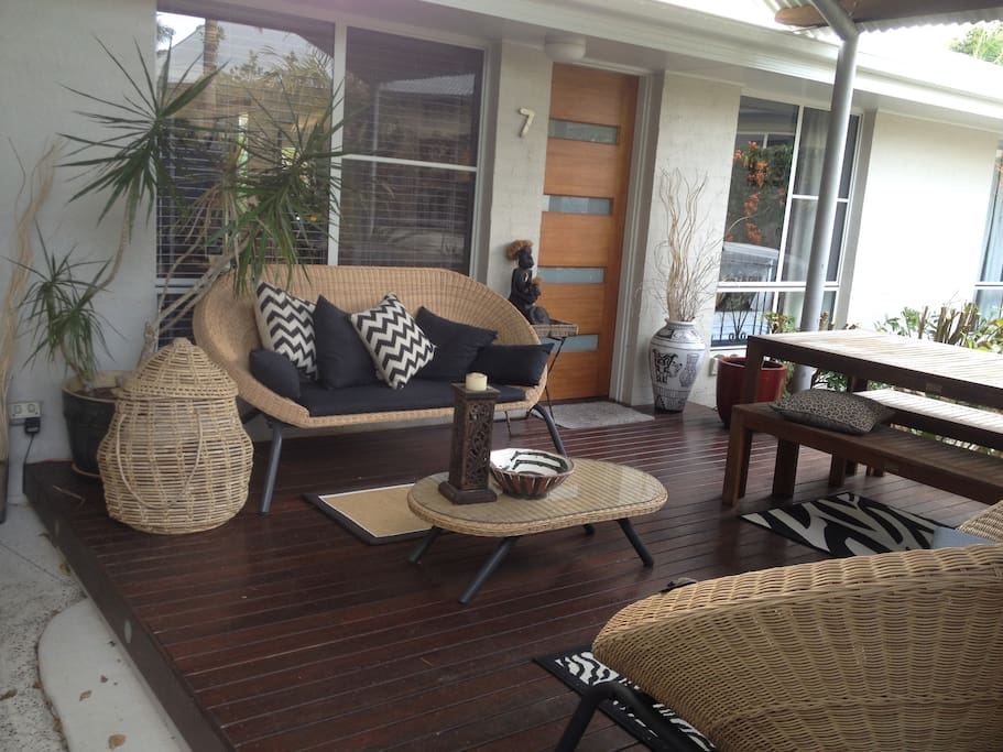 Sunny front deck for your breakie and morning paper