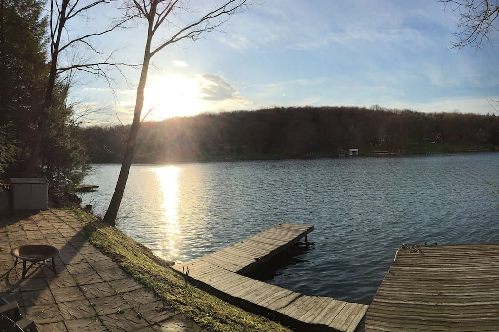 Personal patio & dock experience. Jump right off the dock for a swim, have a fire at night or maybe a lunch BBQ by the water!