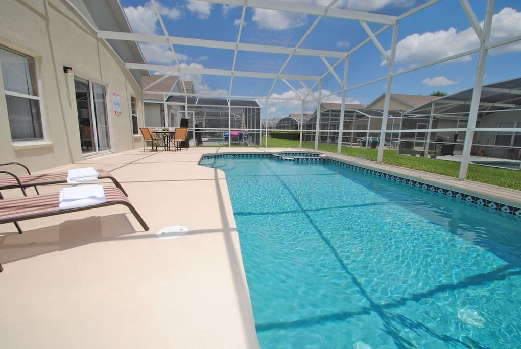 Pool showing large deck area