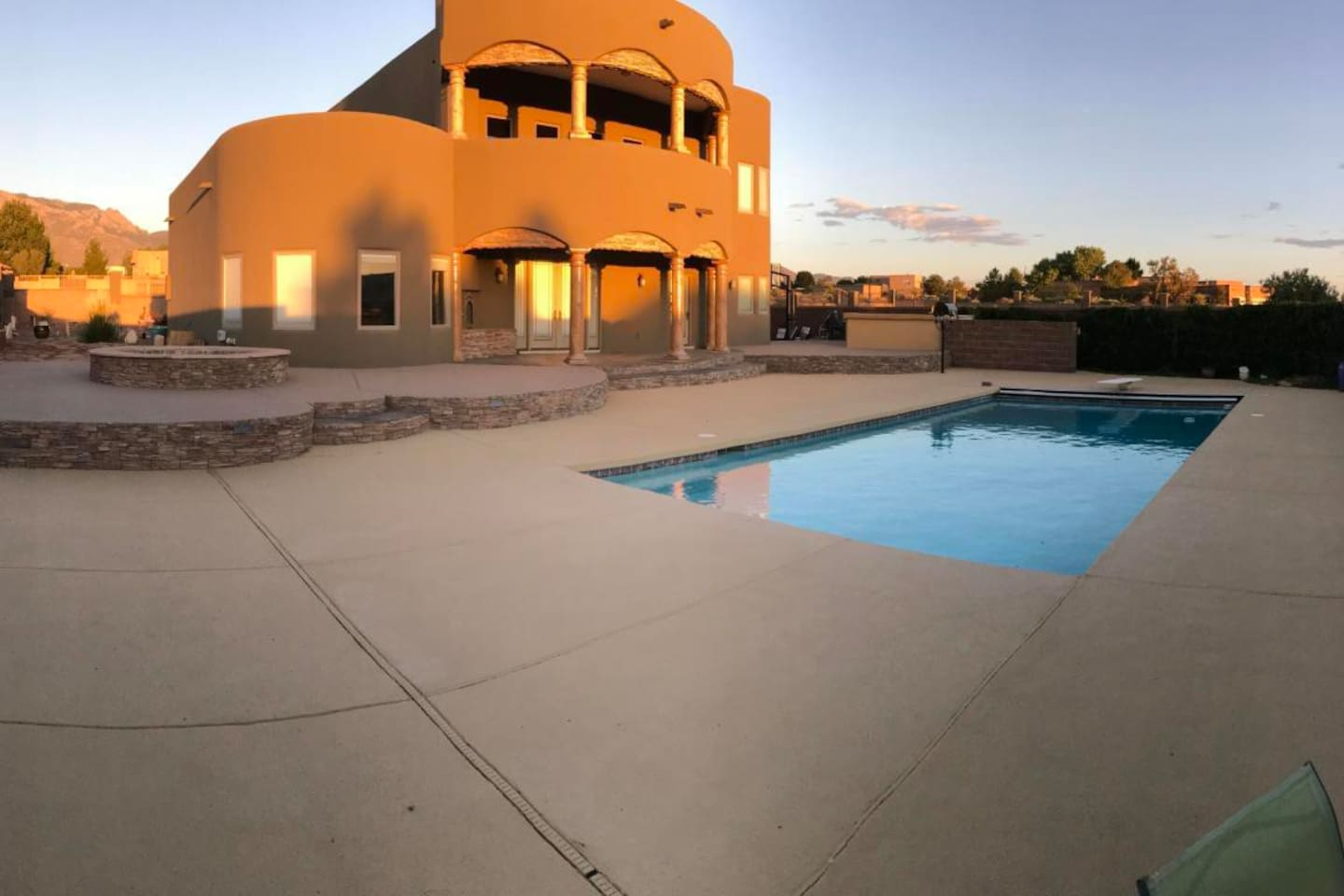 Relax and enjoy the beautiful sunsets and sunrises by the pool.