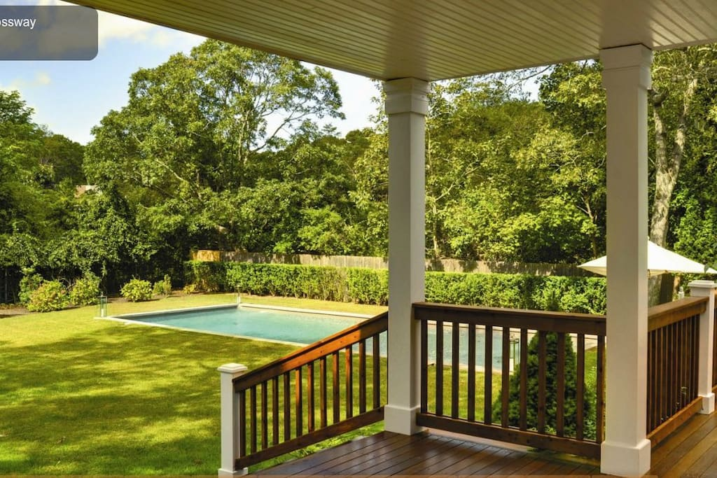 Outdoor dining area view of 20 by 40 heated pool