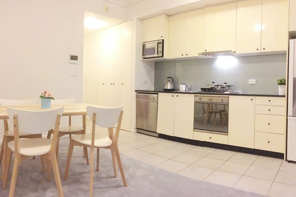 A full decked kitchen & dining area.