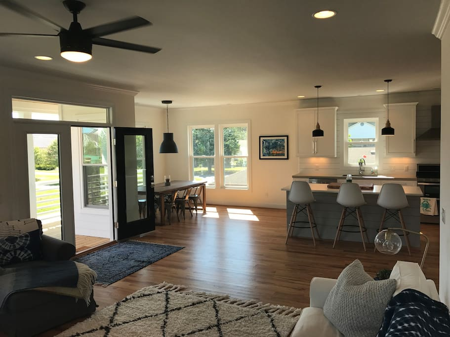 Open floorpan,  large living room kitchen with large island