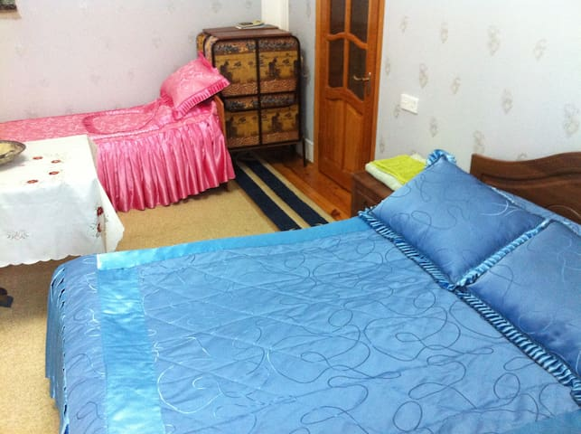 2-nd Floor, 1-st Bedroom. 1 Double & 1 single beds. TV, WiFi.