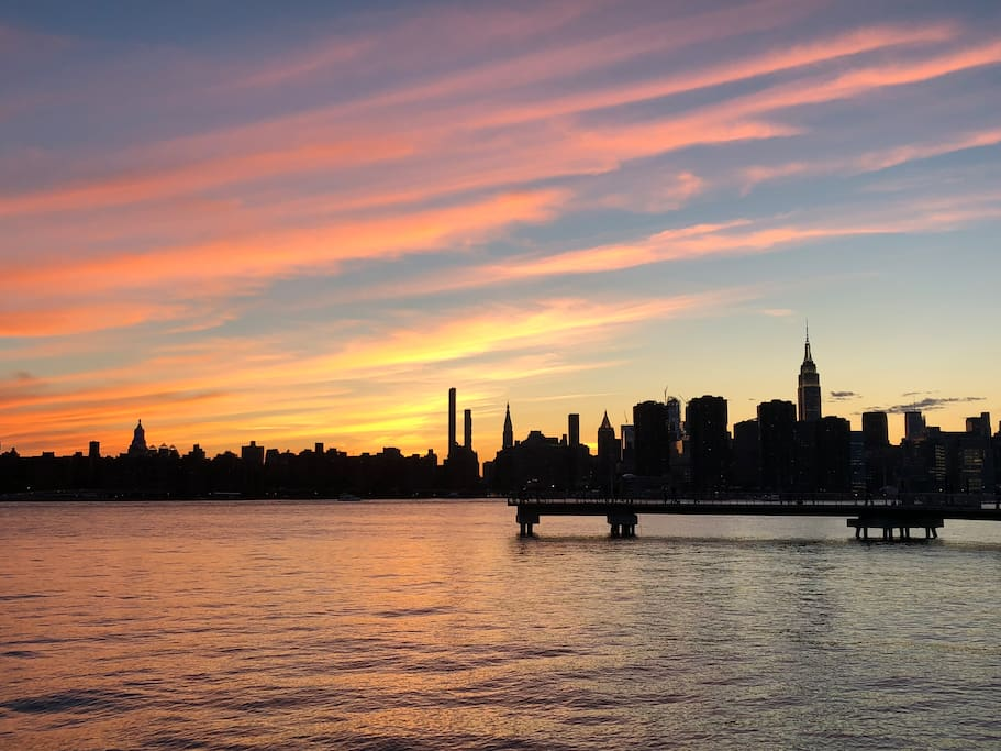 Sunset at brooklyn barge
