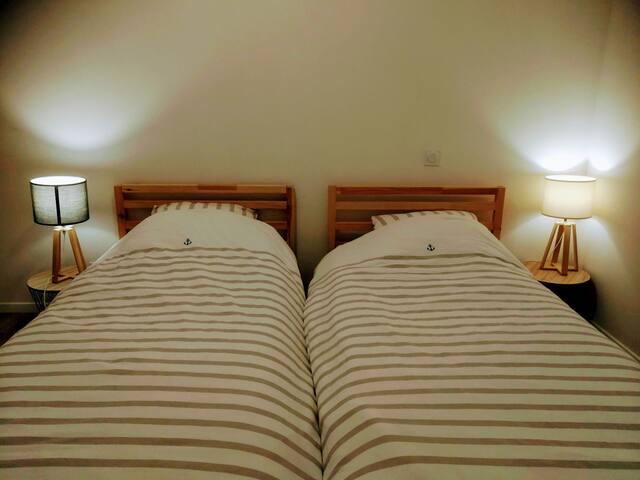 Chambre 3 avec 2 lits simples et accès direct à la salle d'eau