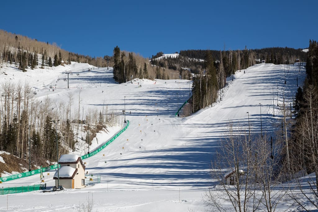 Enjoy views of the ski runs from the living room, dining room and master suite.