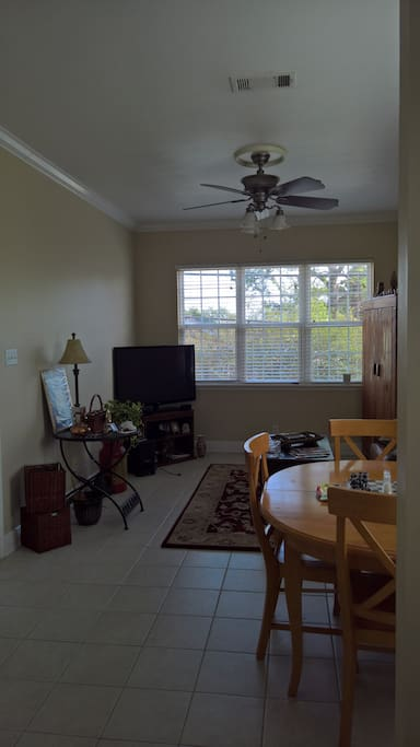 Looking from kitchen to living room