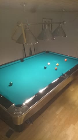 Pool table in the basement