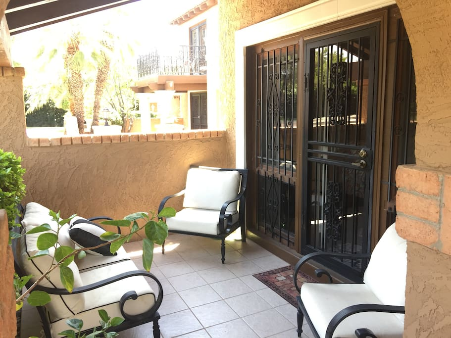 This is your personal Covered Patio & PRIVATE ENTRANCE (you need never enter the main house!). It gets morning sun on the patio; it is a lovely retreat in the afternoon.