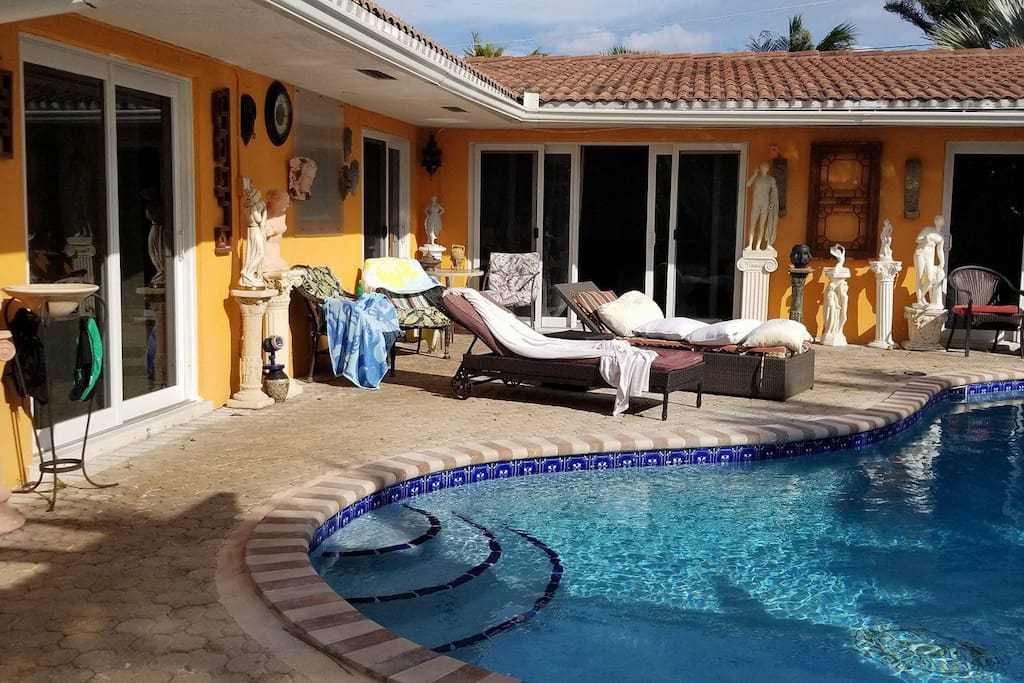 Back yard with heated salt water pool