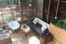 Solarium seating area with record player!