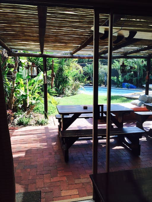 Patio area protect from the wind with barbecue and gas braai