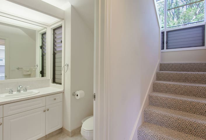 Upstairs you will find your master bedroom and bathroom