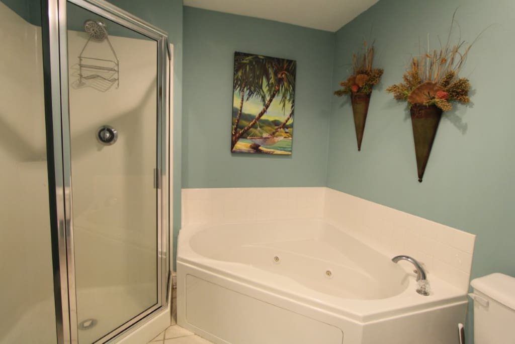 Master bath has a jetted hot tub that adds to your relaxation in the evening.