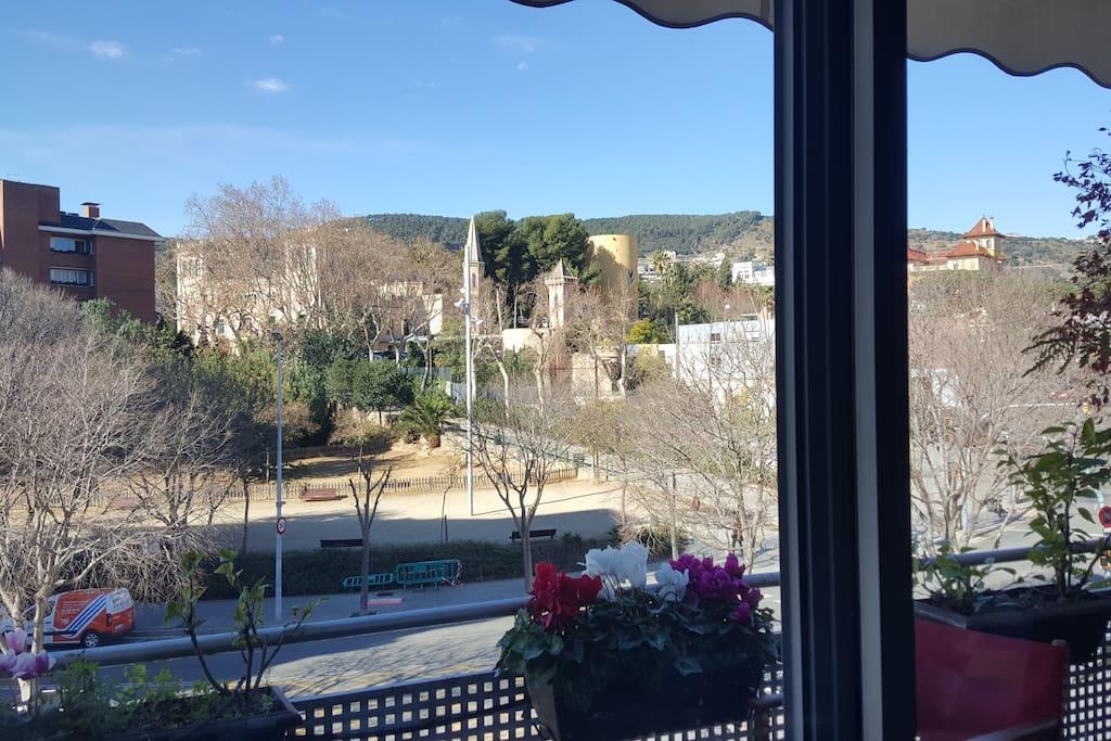 Vistas desde el salon a la montaña del Collserola