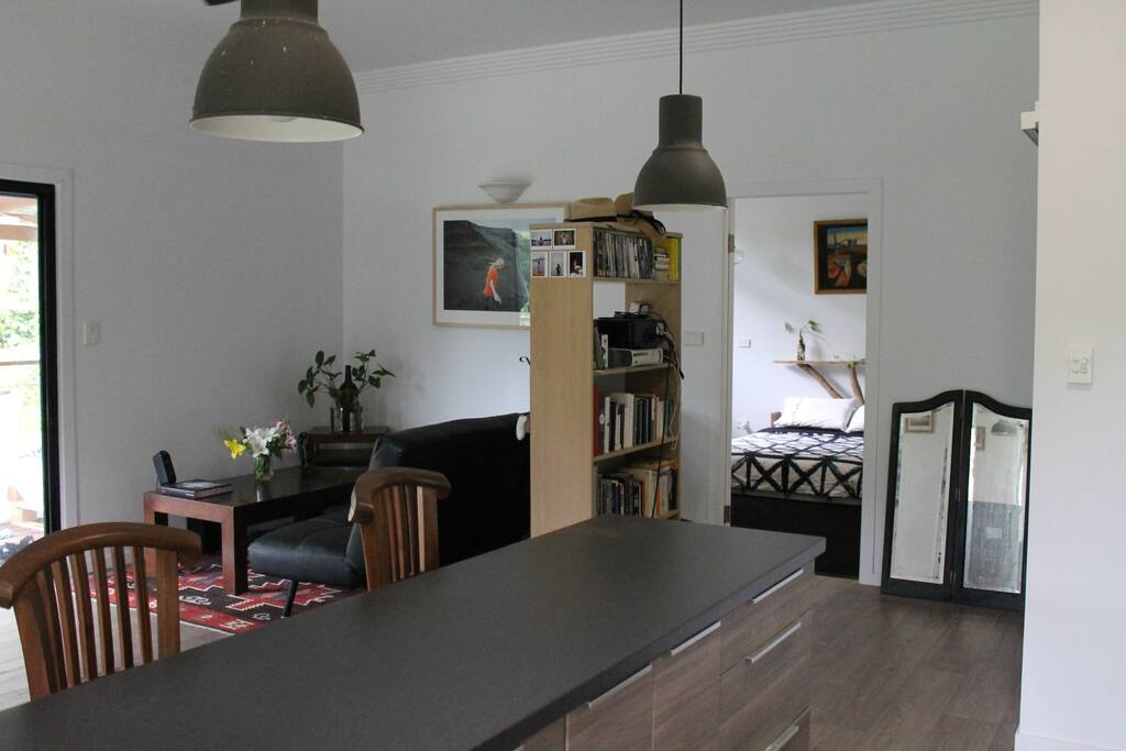 Open plan living area & kitchen.