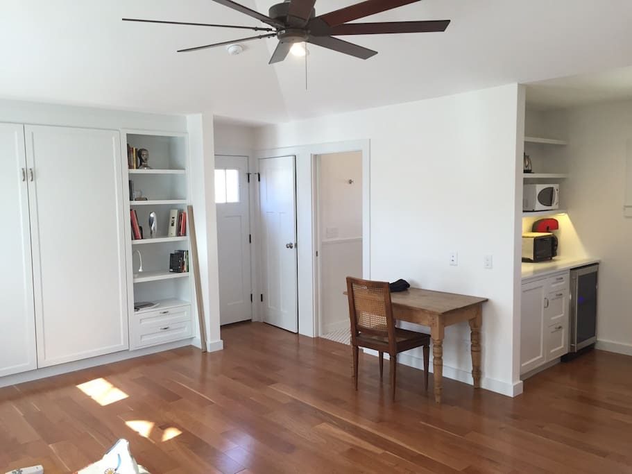 Studio apartment with recessed Murphy bed.