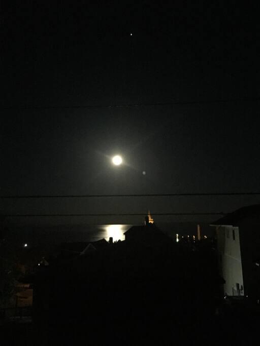 Moon on the lake.