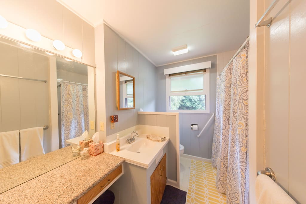 This is the guest bathroom. There is a big vanity and large shower. The sink drains slow, so there is a mirror in the shower for shaving. The hot water to the sink is also very slow. The shower and toilet work great!