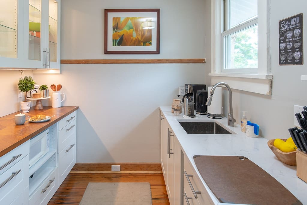 Completely new kitchen December 2017. Cabinet lighting, wood and Cambria counters