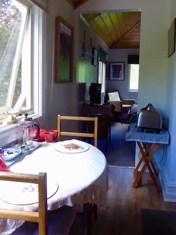 The sitting room looking towards the bedroom.