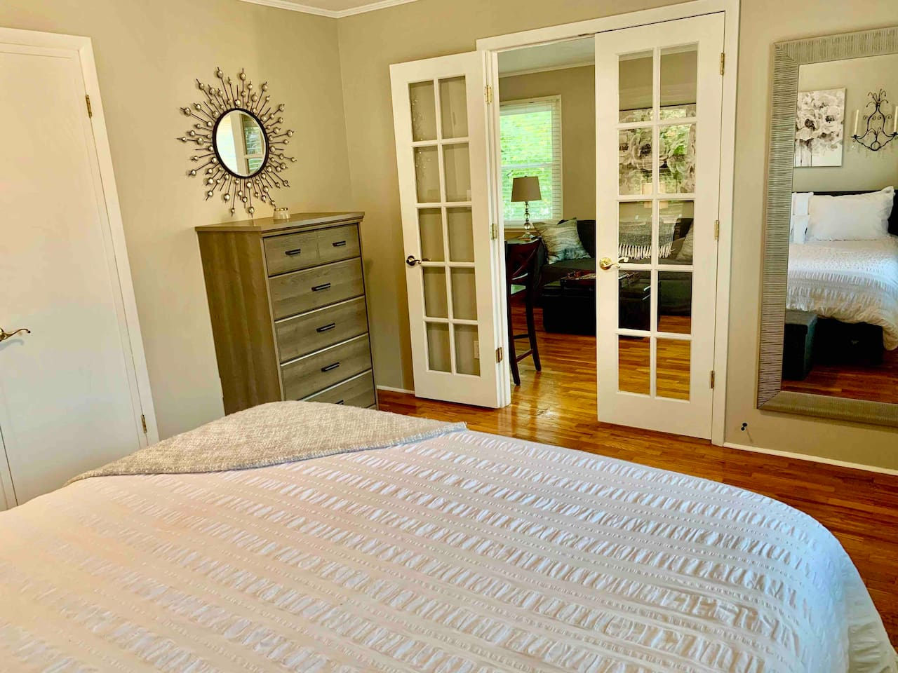 Top floor KING tempurpedic bed nesting with a birds eye view of the water and Mt Baldhead makes this nest the perfect place to enjoy a romantic stay in the heart of downtown Saugatuck!