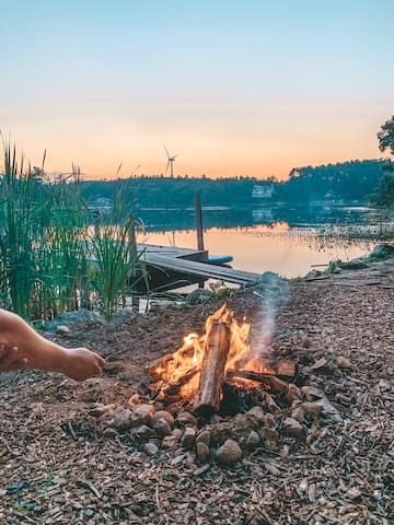 Pond Side Camping with unforgettable sunsets